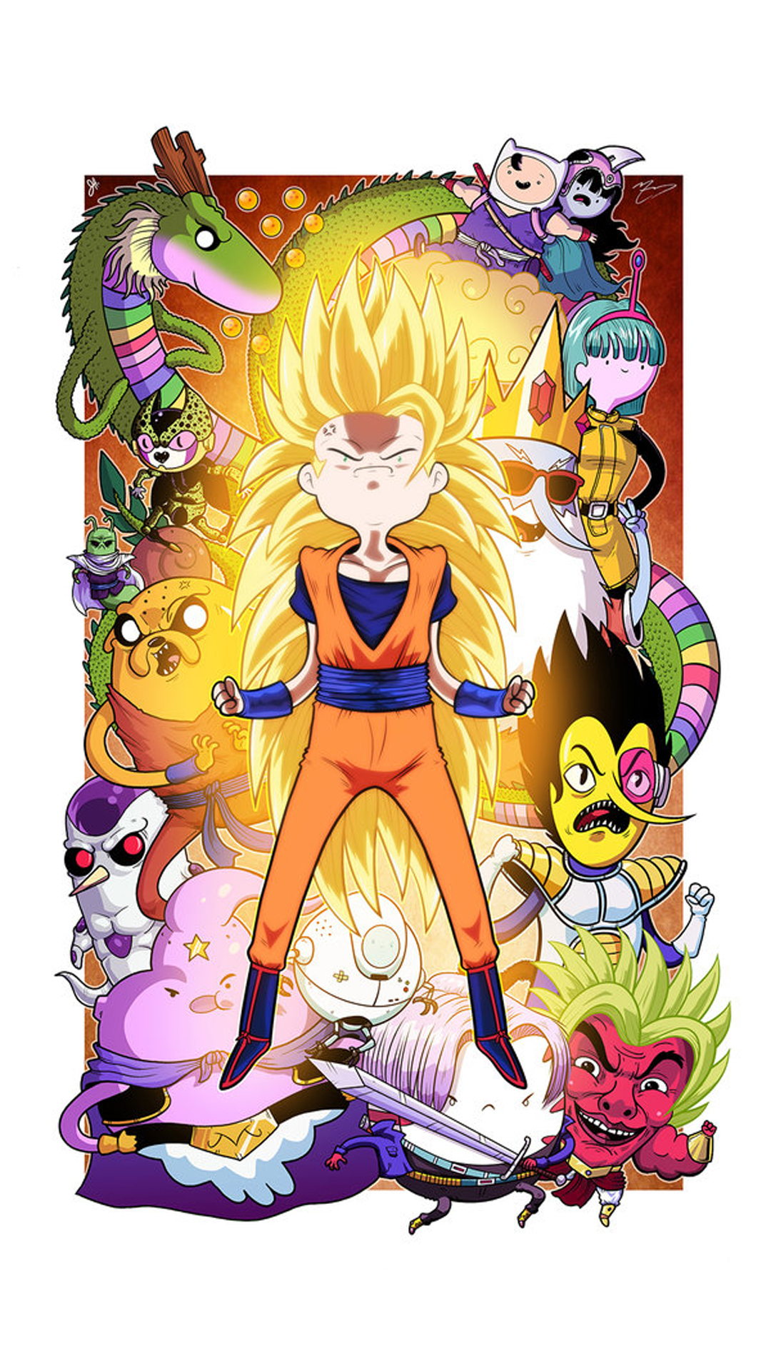 Adventure Time Iphone Wallpaper - Crossover Dragon Ball , HD Wallpaper & Backgrounds