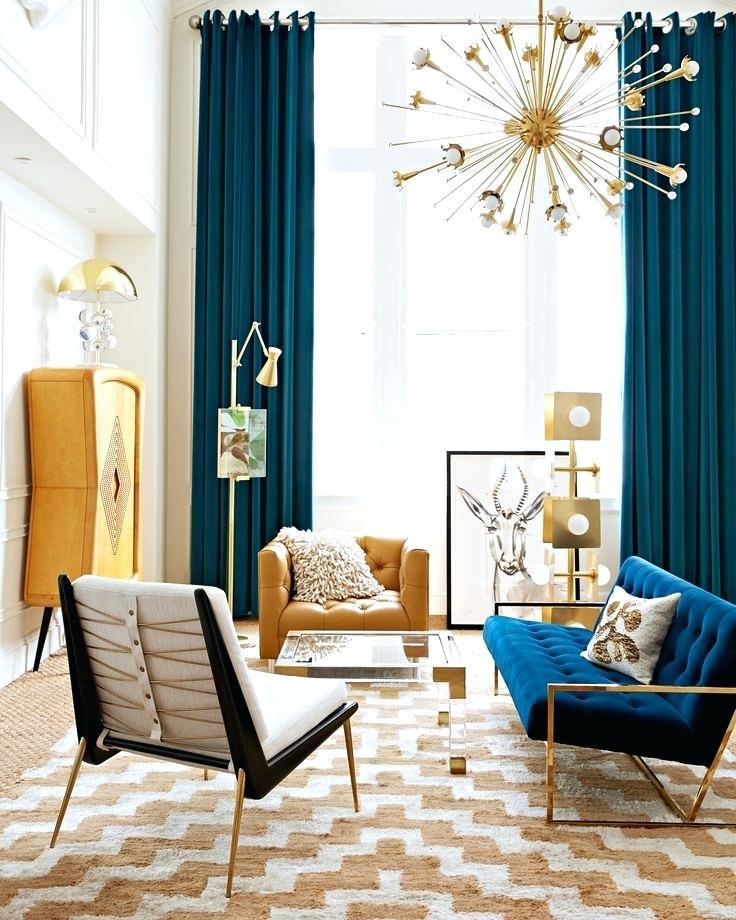 Bold Living Room Ideas Unusual Design Blue Curtain - Mid Century Modern Blue Living Room , HD Wallpaper & Backgrounds