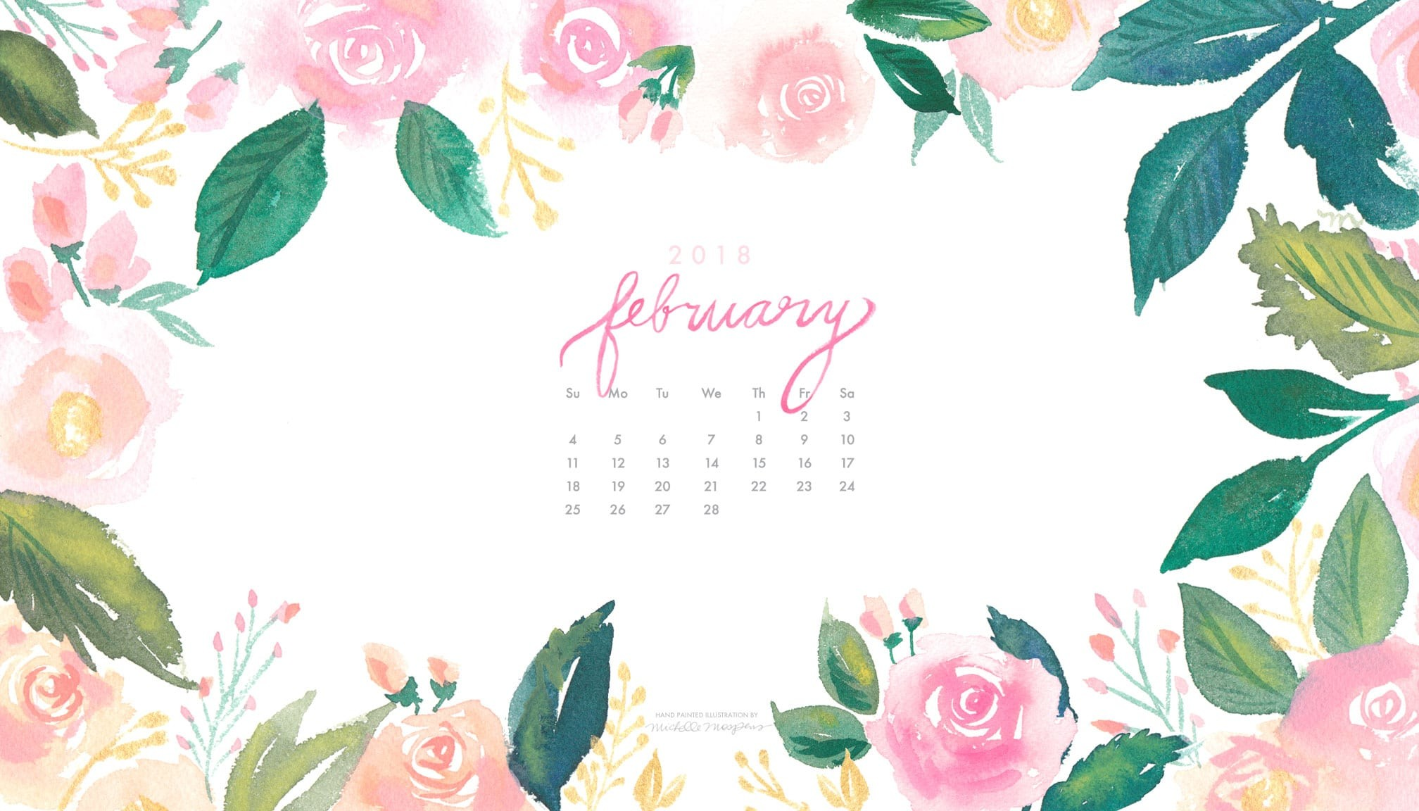 Download The Choice Of Your Watercolor Floral Wallpapers - Floral Calendar Desktop Wallpaper February 2019 , HD Wallpaper & Backgrounds