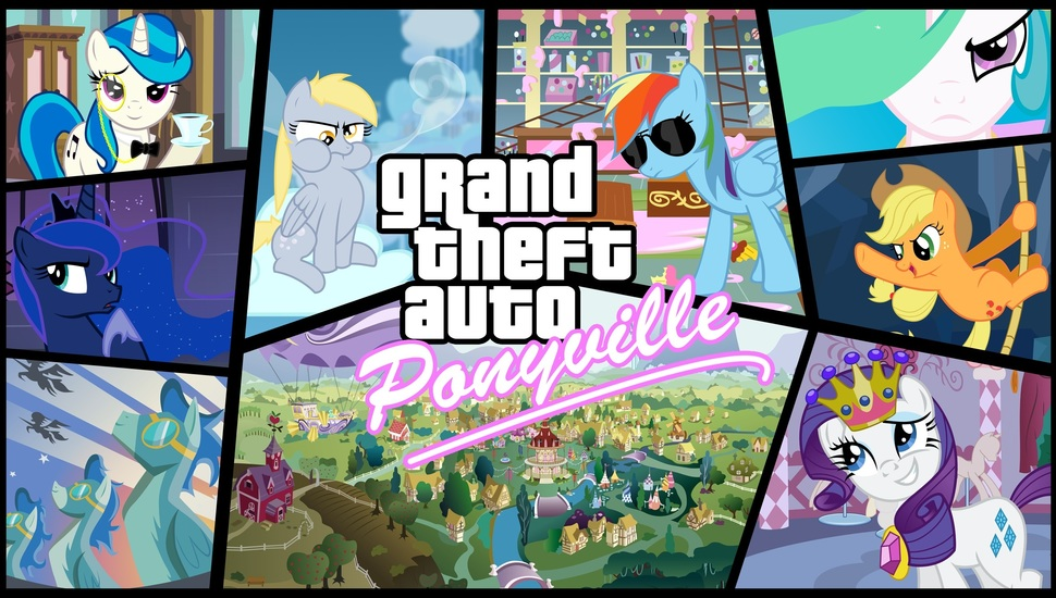 Gta, Equestria, Mlpfim, My Little Pony, Grand Theaft - Grand Theft Auto Mlp , HD Wallpaper & Backgrounds