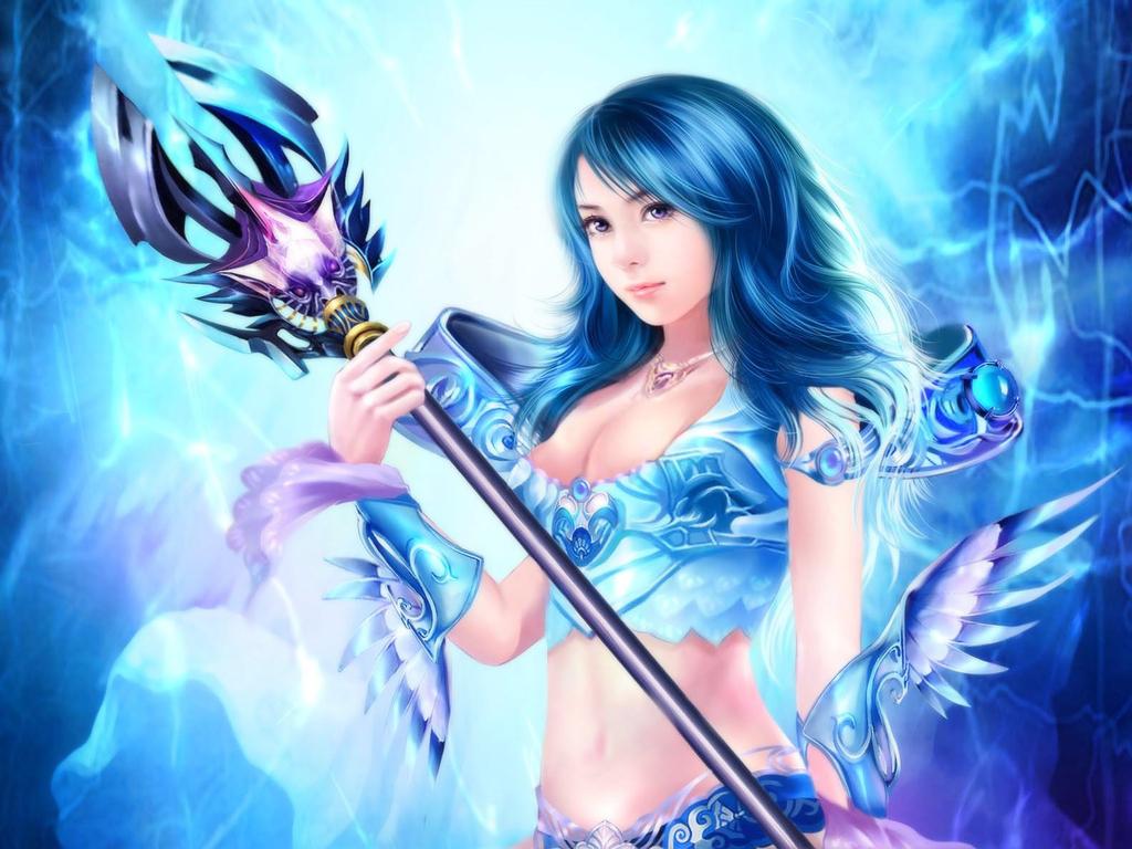 Fantasy Wallpaper Called Fantasy Girl - Girl Blue Magic Fantasy , HD Wallpaper & Backgrounds