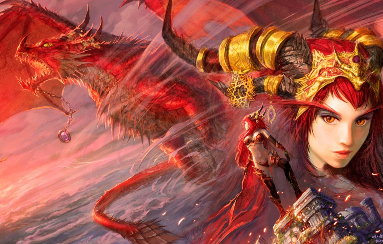 Photo Wallpaper Girl, World Of Warcraft, Fantasy, Game, - Wow Red Dragon Aspect , HD Wallpaper & Backgrounds