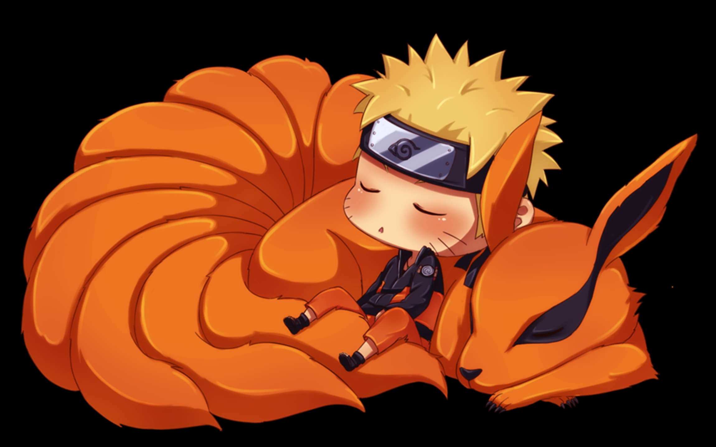 Naruto And Kyuubi Chibi HD Wallpaper