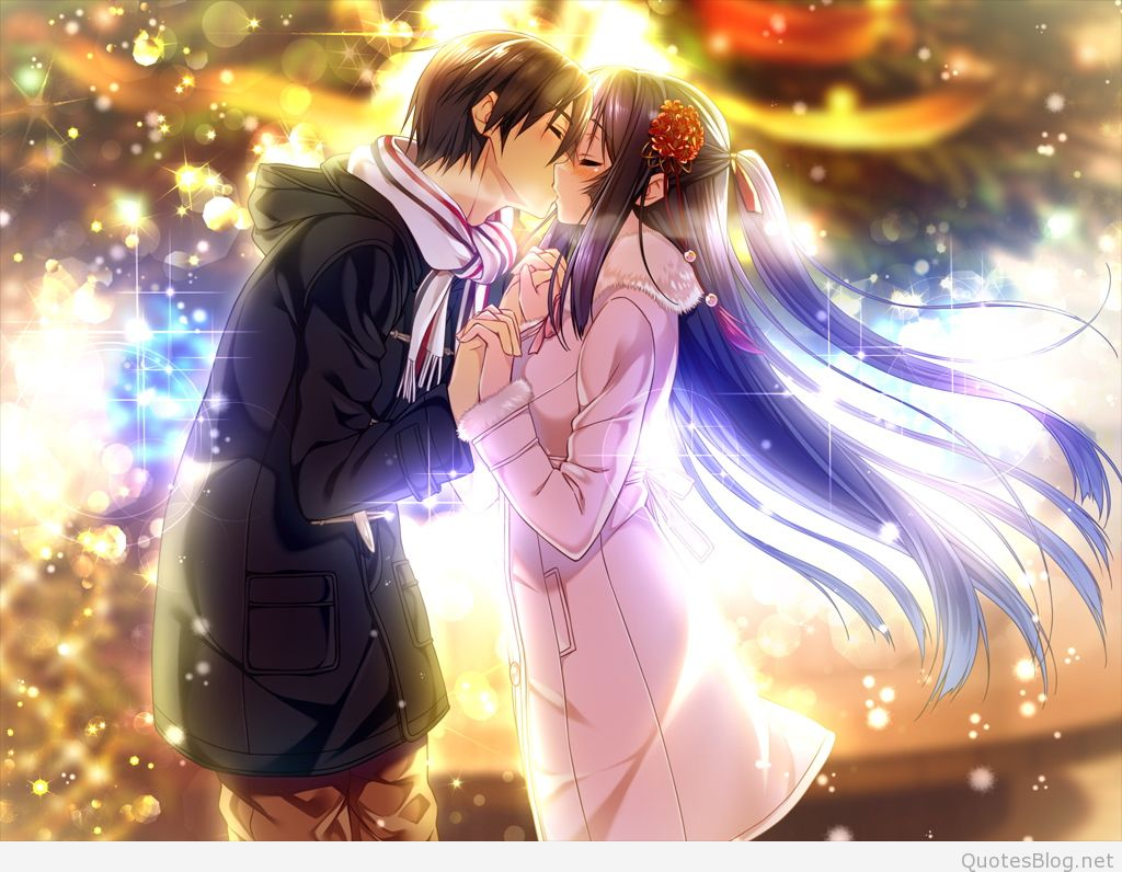 Beautiful Couple Mouth Kissing Anime Image For Facebook - Romantic Anime Couple Kiss , HD Wallpaper & Backgrounds
