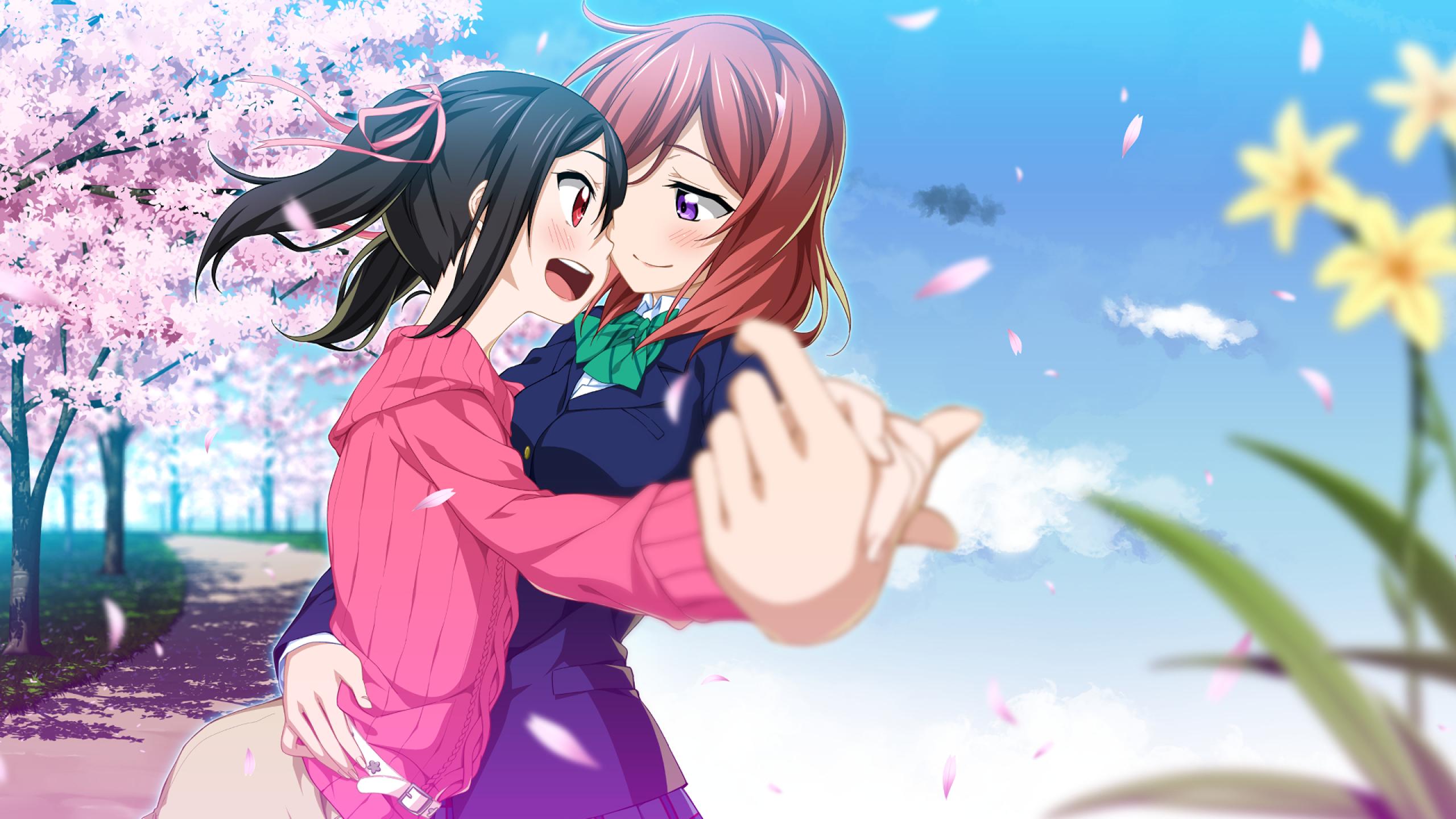 Love Live Yazawa Nico Nishikino Maki Dancing Sakura 441046 Hd Wallpaper Backgrounds Download