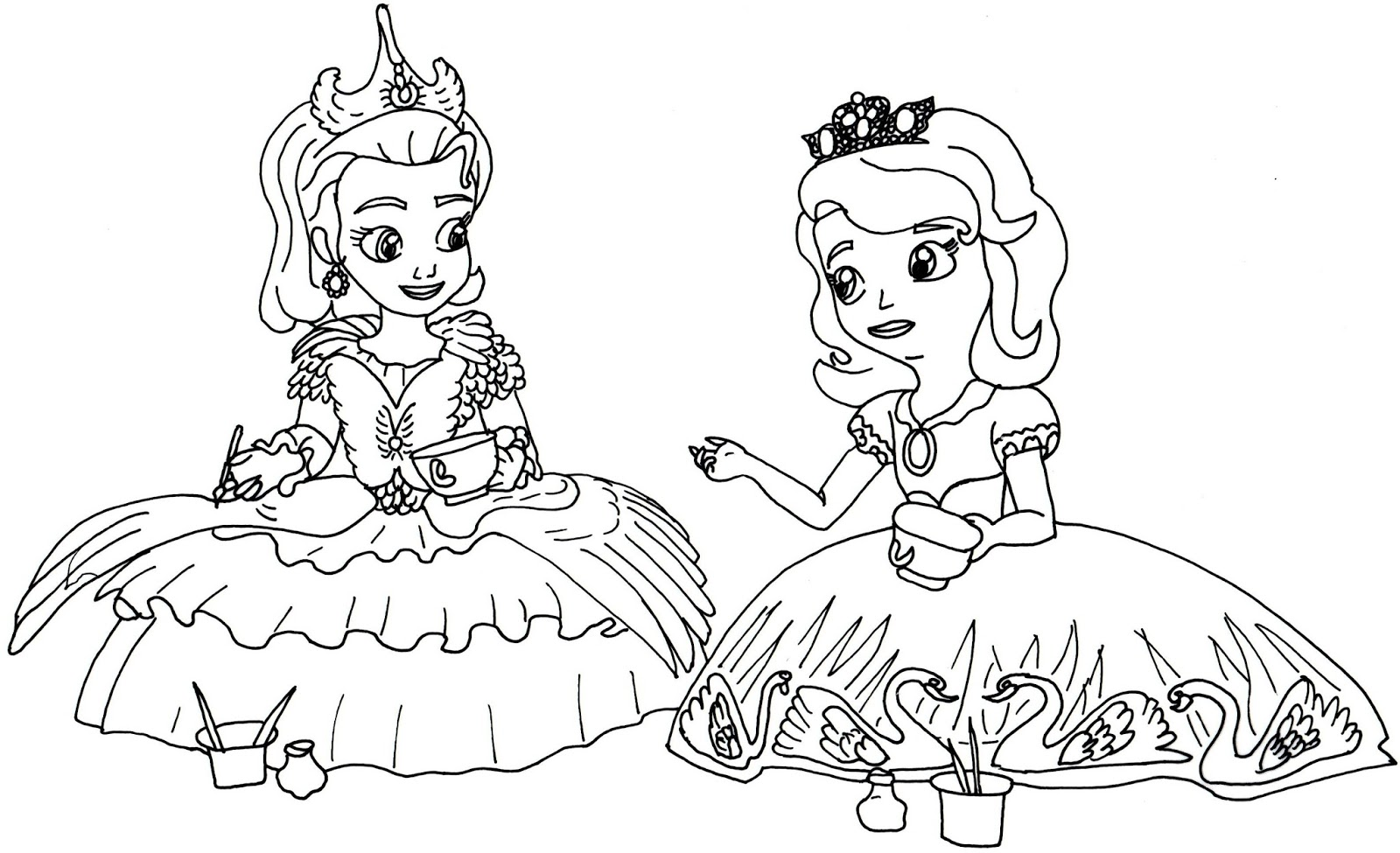 Sofia The First And Amber Coloring Pages , HD Wallpaper & Backgrounds