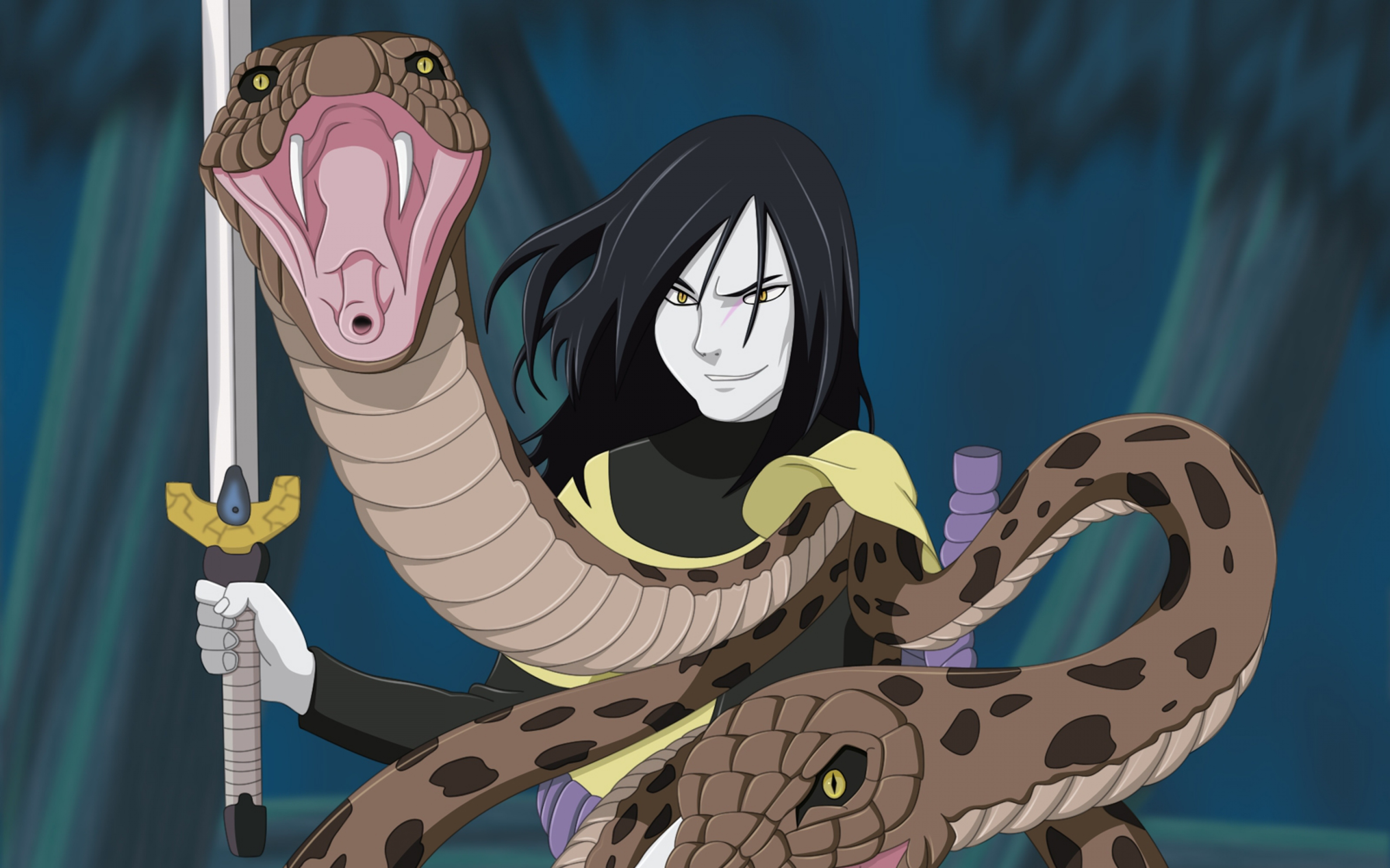 44 446056 hd background orochimaru naruto snake fangs sword anime