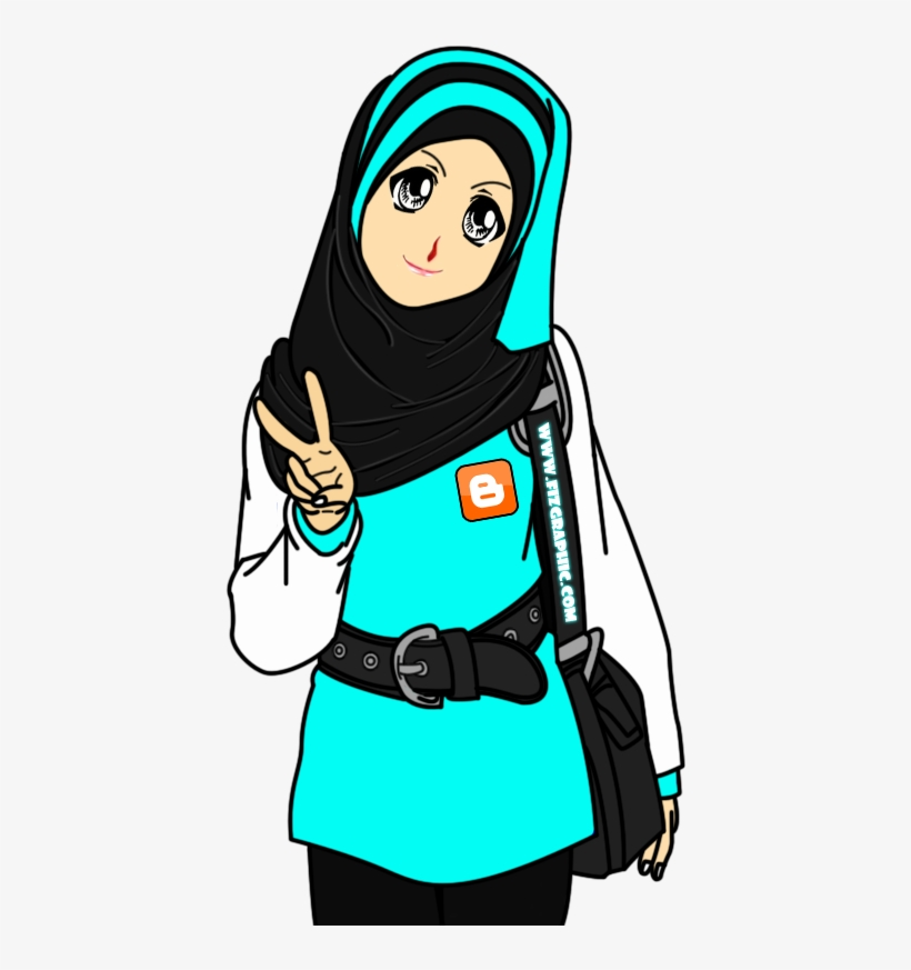 Gambar Kartun Muslimah Peace - Cute Muslimah Cartoon , HD Wallpaper & Backgrounds