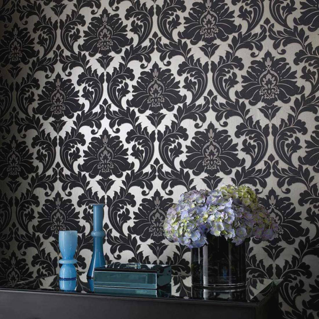 Carta Da Parati Nera inspiring black and silver wallpaper border - carta da