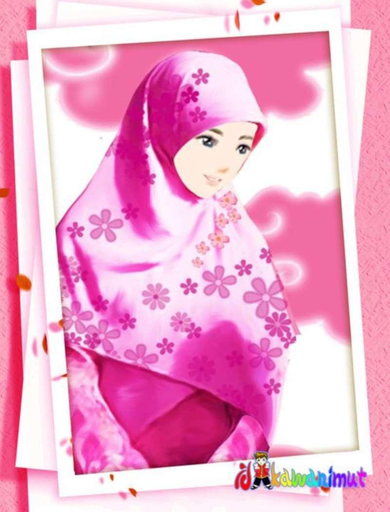 Kartun Muslimah Cantik Berhijab Merah Muda - Kartun Muslimah Cantik Berjilbab , HD Wallpaper & Backgrounds