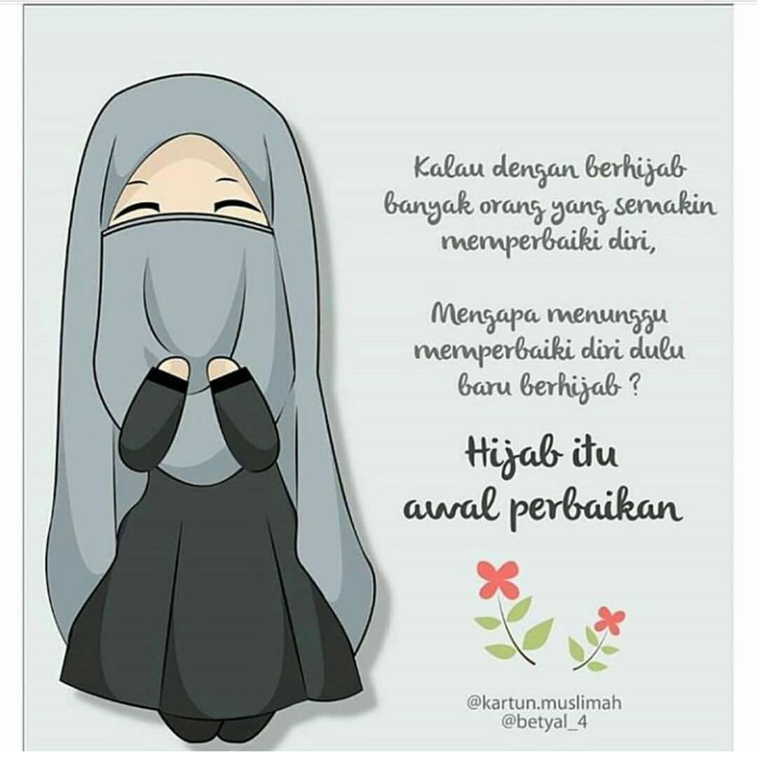 Galeri Gambar Animasi Hijab Keren Gambarcarton - Kata Kata Kartun Muslimah Terbaru , HD Wallpaper & Backgrounds