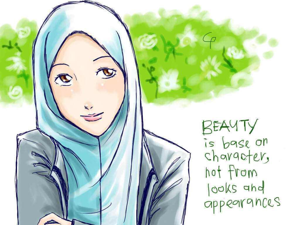 Orang Berjilbab Cantik Kartun , HD Wallpaper & Backgrounds