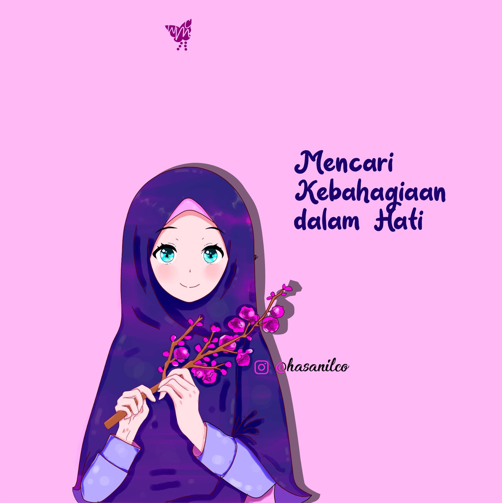 009 Wallpaper Dark - Kartun Muslimah Terbaru 2019 , HD Wallpaper & Backgrounds
