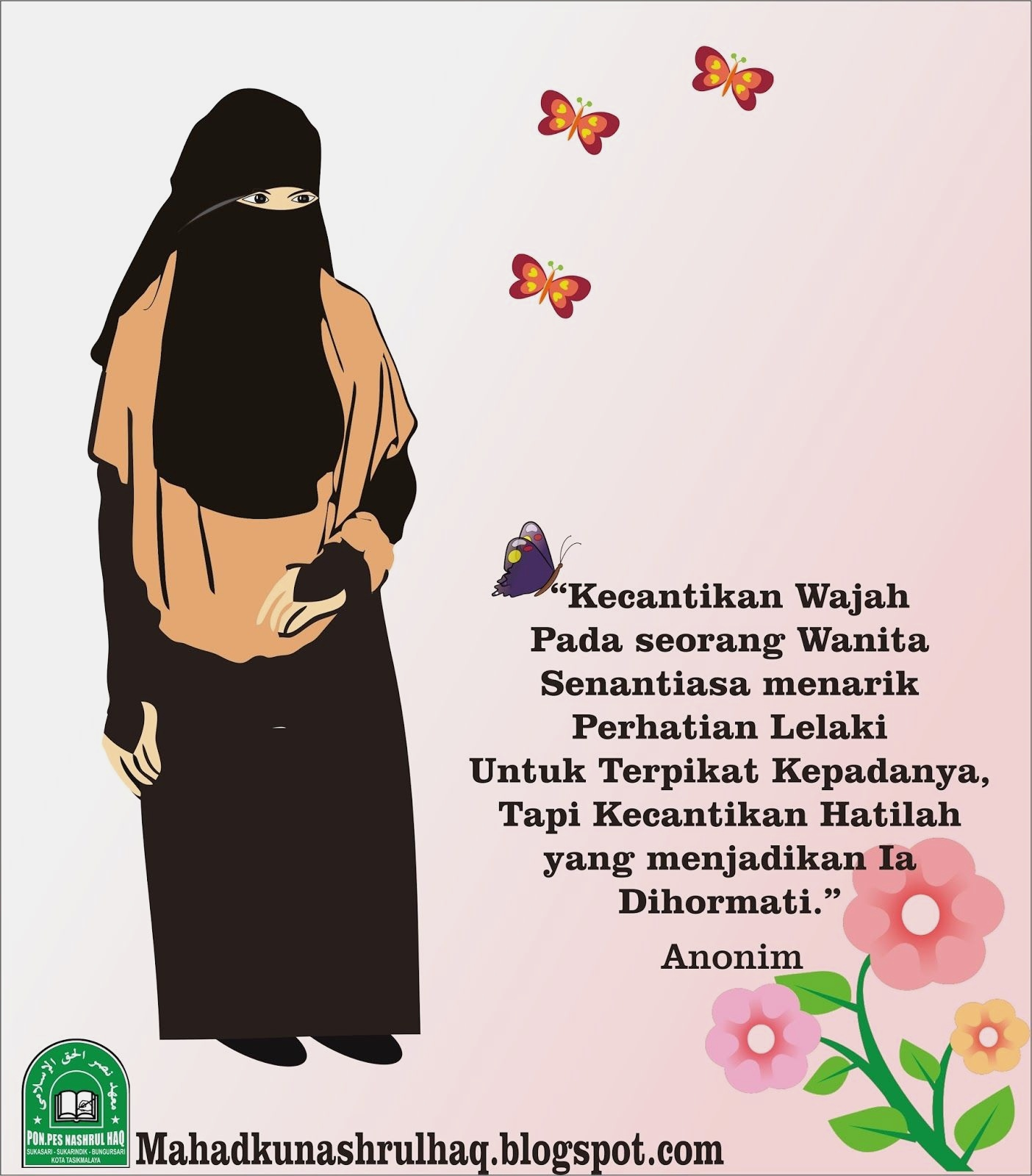 Gambar Kartun Muslimah Bercadar Tentang Kecantikan Kata