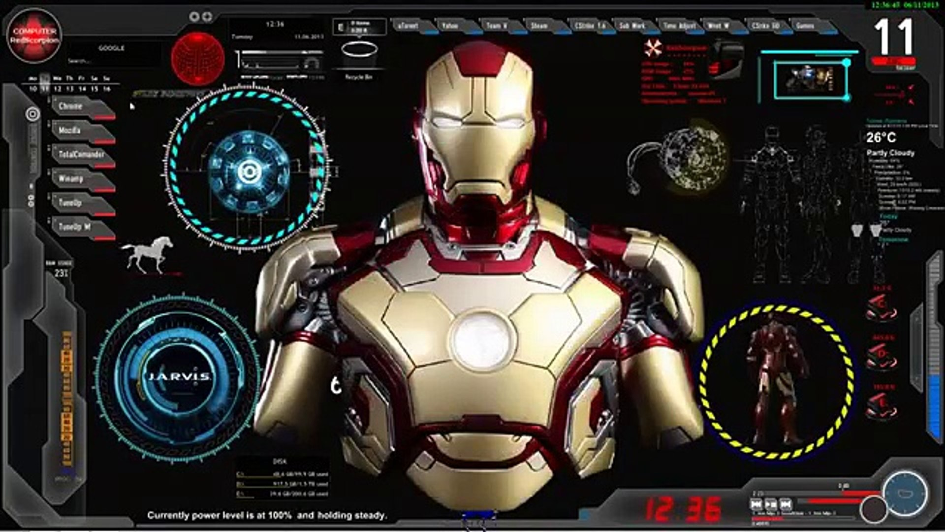 Update Iron Man Jarvis Desktop Animated Live Skin Pc