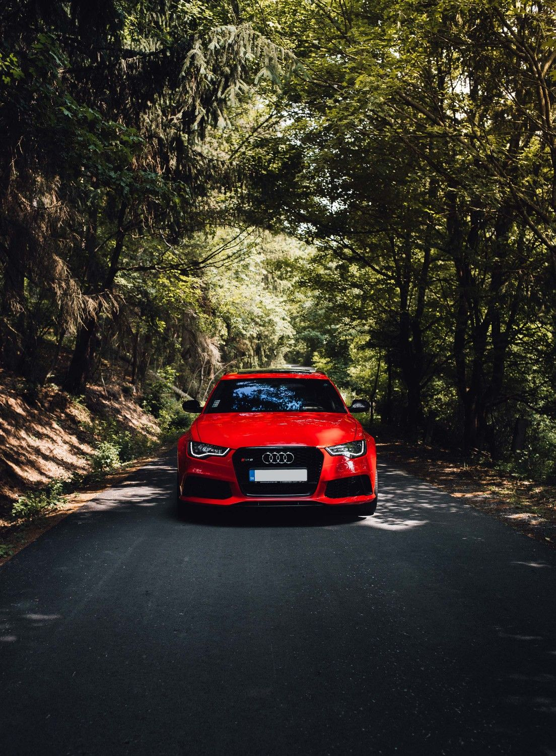 Red - Audi Car In Forest , HD Wallpaper & Backgrounds