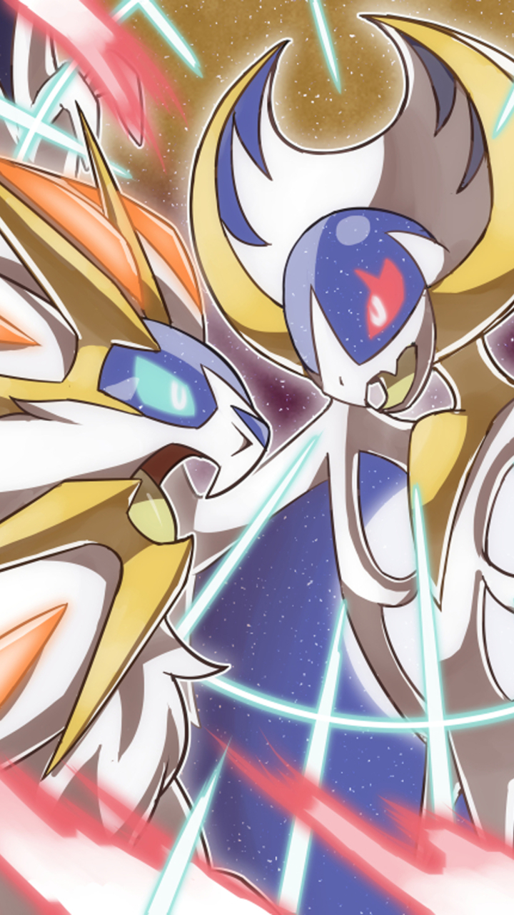 Wallpaper - Solgaleo And Lunala Battle , HD Wallpaper & Backgrounds