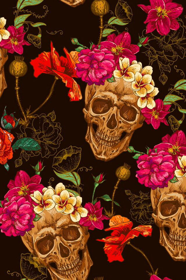 Pin By Cora Bello On Art - Skull Flower Pattern , HD Wallpaper & Backgrounds
