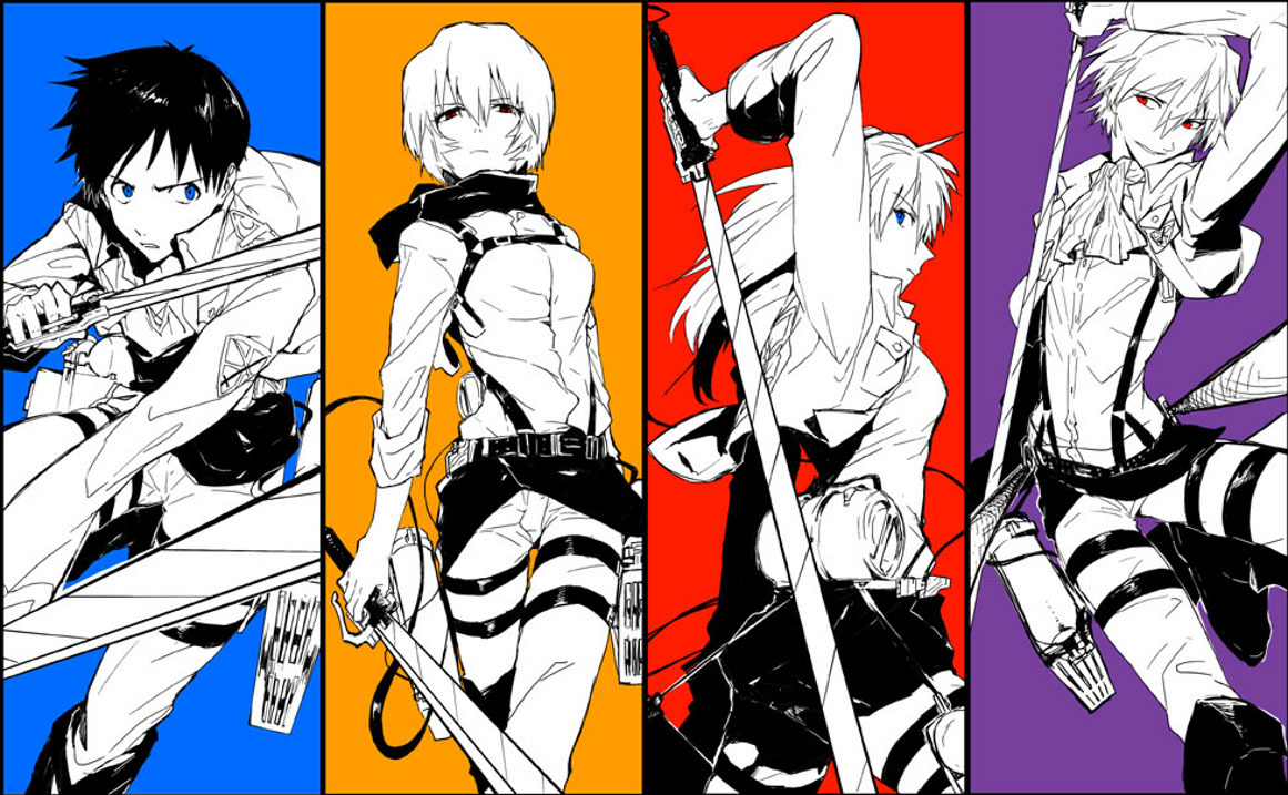 Could Someone Resize This Aot X Eva Wallpaper To Evangelion X Attack On Titan 470892 Hd Wallpaper Backgrounds Download