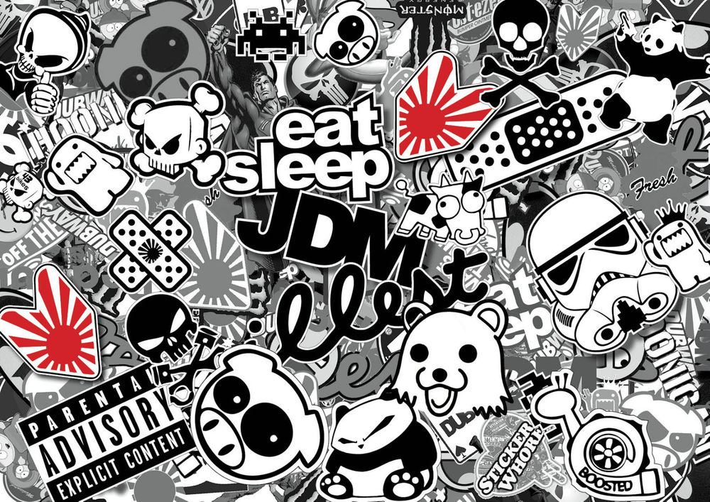 47 472732 x2 jdm black white sticker bombing sheets a4