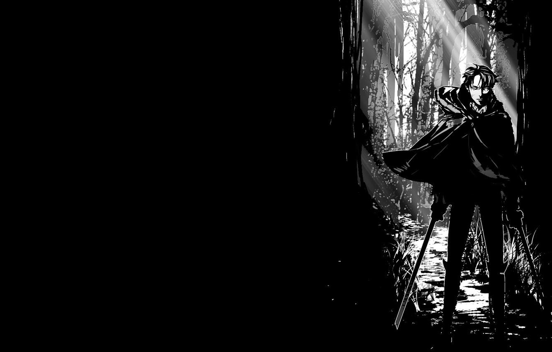 Photo Wallpaper Anime, Art, Levi, Attack, Shingeki - Attack On Titan Black , HD Wallpaper & Backgrounds