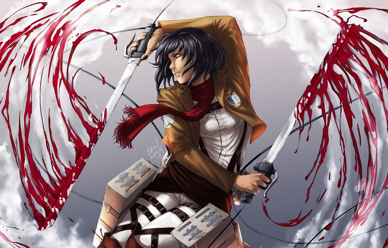 Photo Wallpaper Art Shingeki No Kyojin Attack Of Attack On Titan Mikasa Art 473731 Hd Wallpaper Backgrounds Download