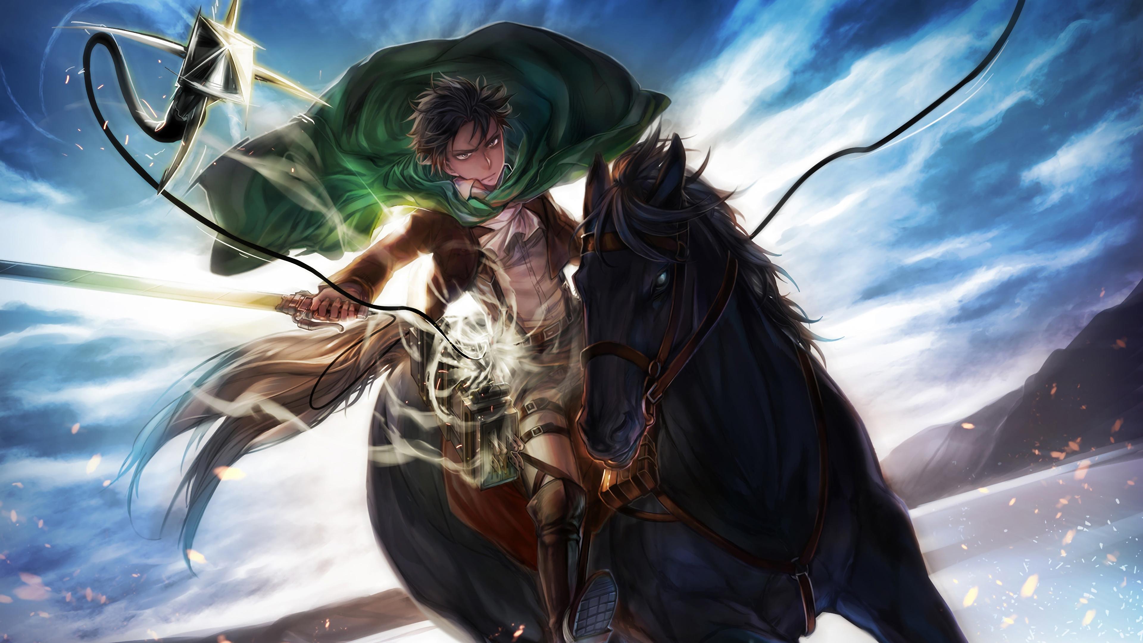 Mikasa Ackerman Levi Attack On Titan Sky Anime Ataque