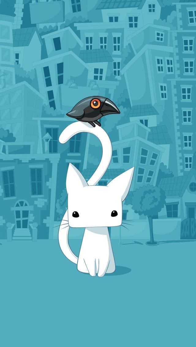 Cute City Cartoon Cat Iphone Se Wallpaper - Cartoon Cat Wallpaper For Iphone , HD Wallpaper & Backgrounds