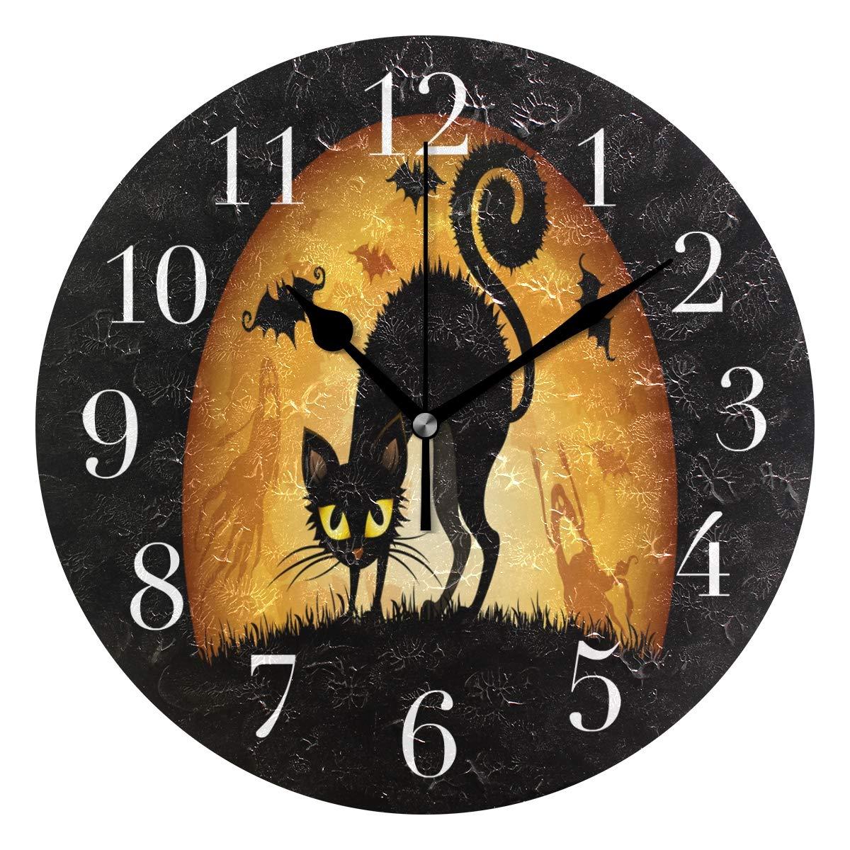 round wall clock halloween cartoon cat