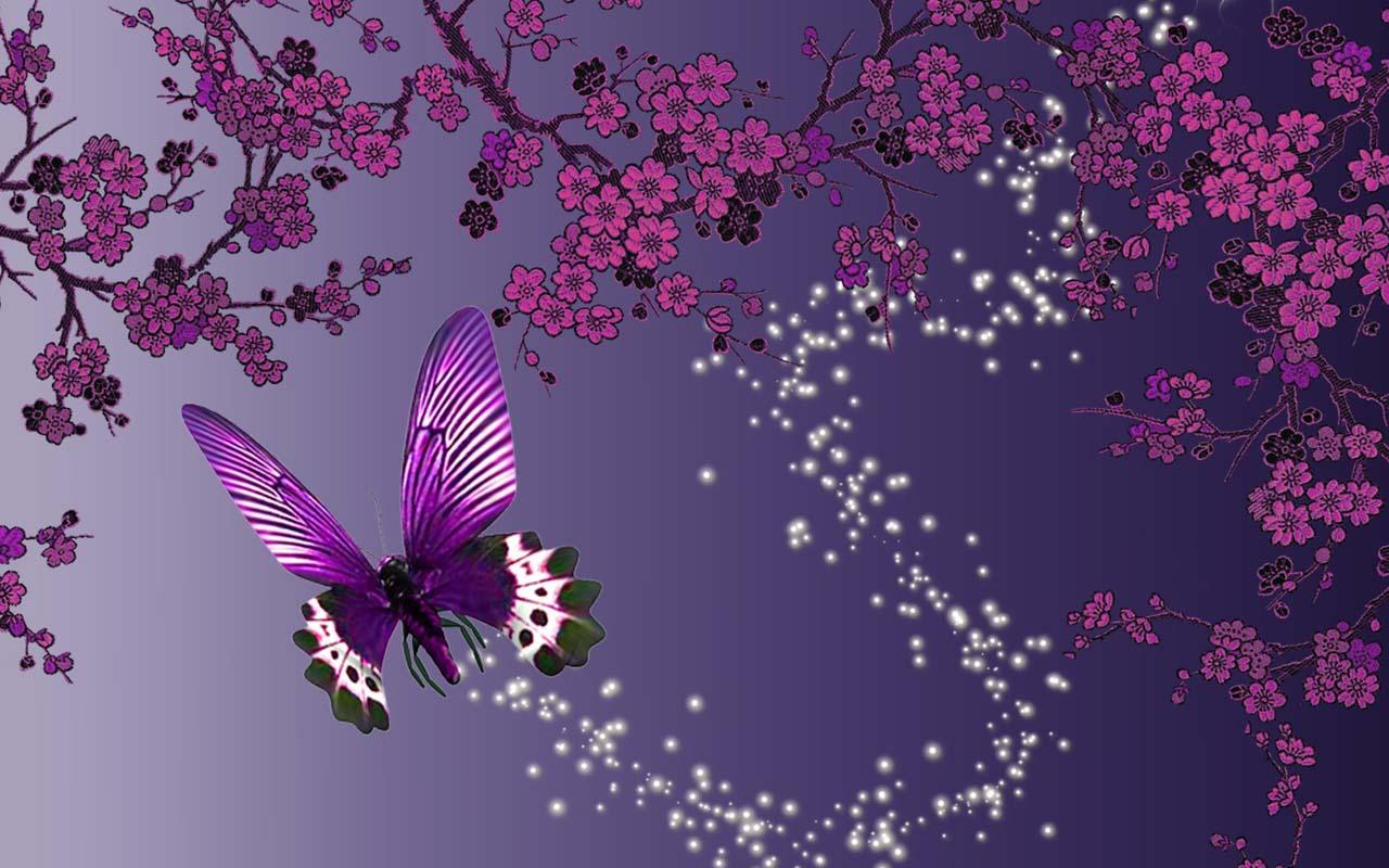 Free Live Wallpaper Magic Butterfly - Cherry Blossom And Butterfly , HD Wallpaper & Backgrounds