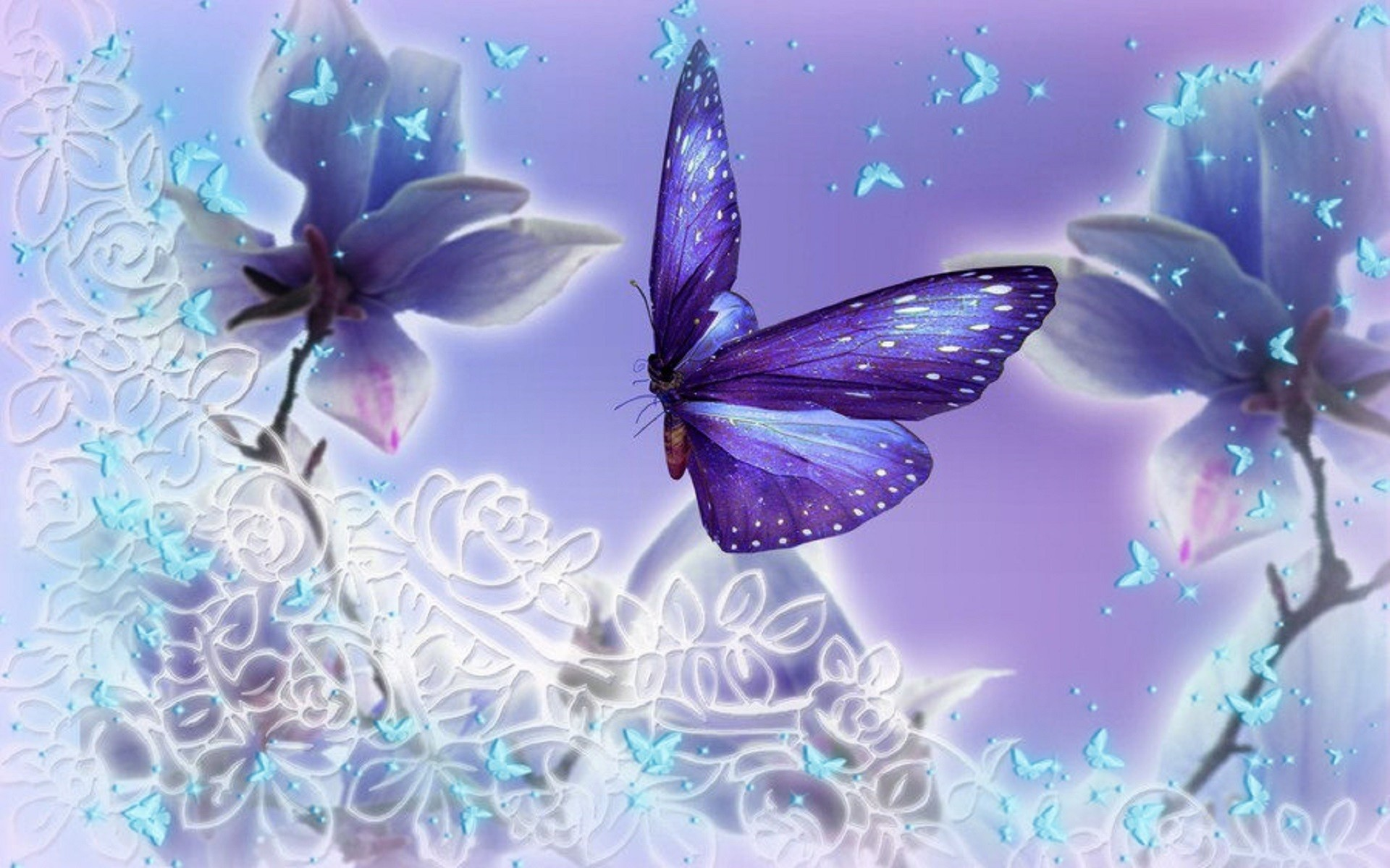 Beautiful Butterfly Wallpaper - Purple And Blue Butterfly Background , HD Wallpaper & Backgrounds