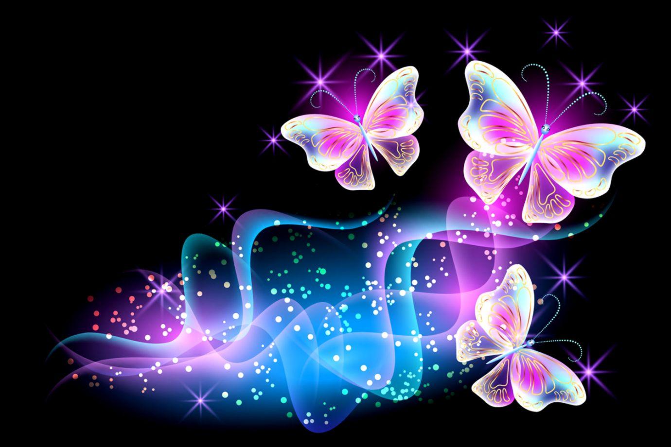 Nice Decoration Pink Butterfly Wallpaper Butterflies - Colorful Neon Butterfly 3d , HD Wallpaper & Backgrounds