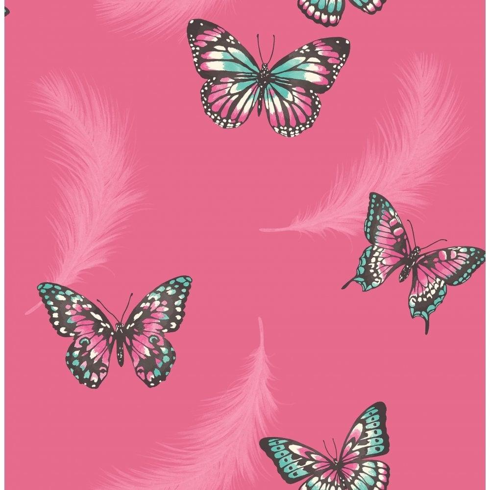 Fine Decor Butterflies Feather Wallpaper Pink - Love Pink Wallpaper Photo Butterfly , HD Wallpaper & Backgrounds