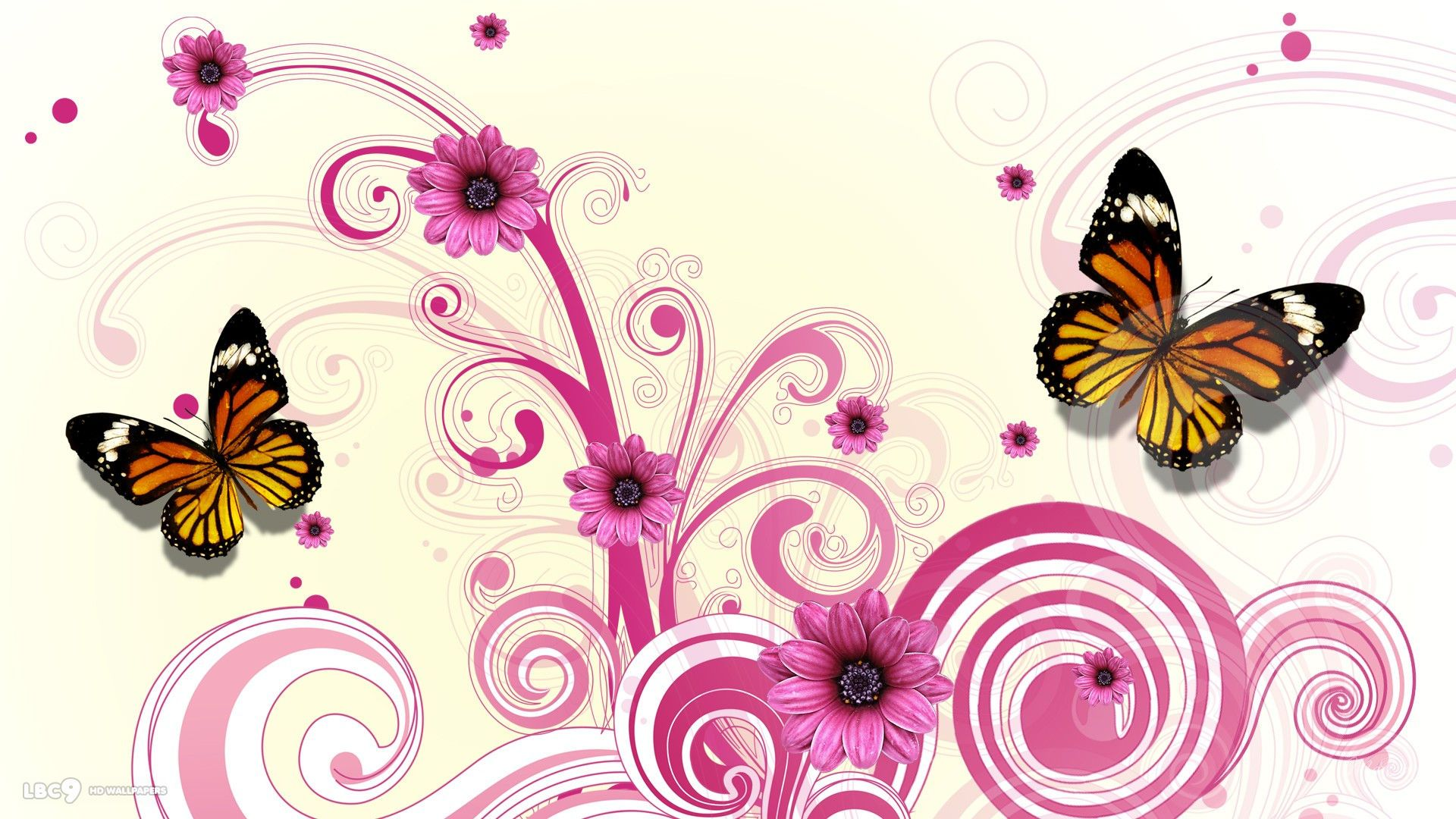 Pink Butterfly Wallpapers Group - Butterfly And Flower Background Pink , HD Wallpaper & Backgrounds