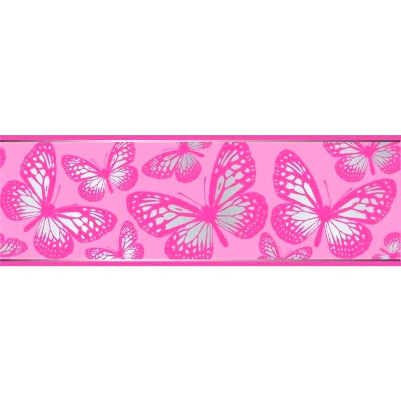 Camo Wallpaper Border Pink Wall Borders Pink Butterfly - Pink And Silver Butterflies , HD Wallpaper & Backgrounds