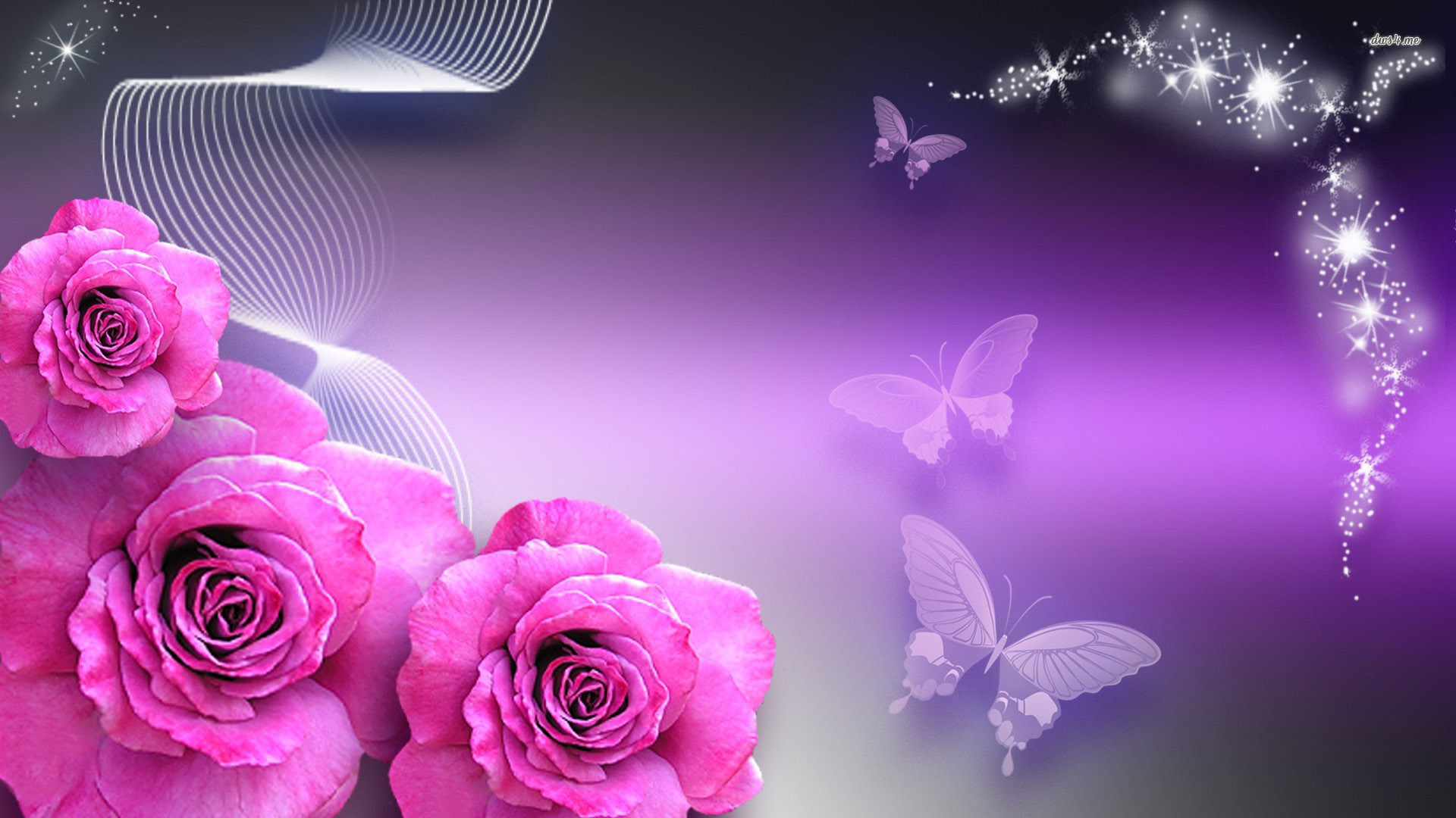 Butterflies Rosebuds Butterflies And Pink Roses Digital - Purple Roses Wallpaper Desktop Background , HD Wallpaper & Backgrounds