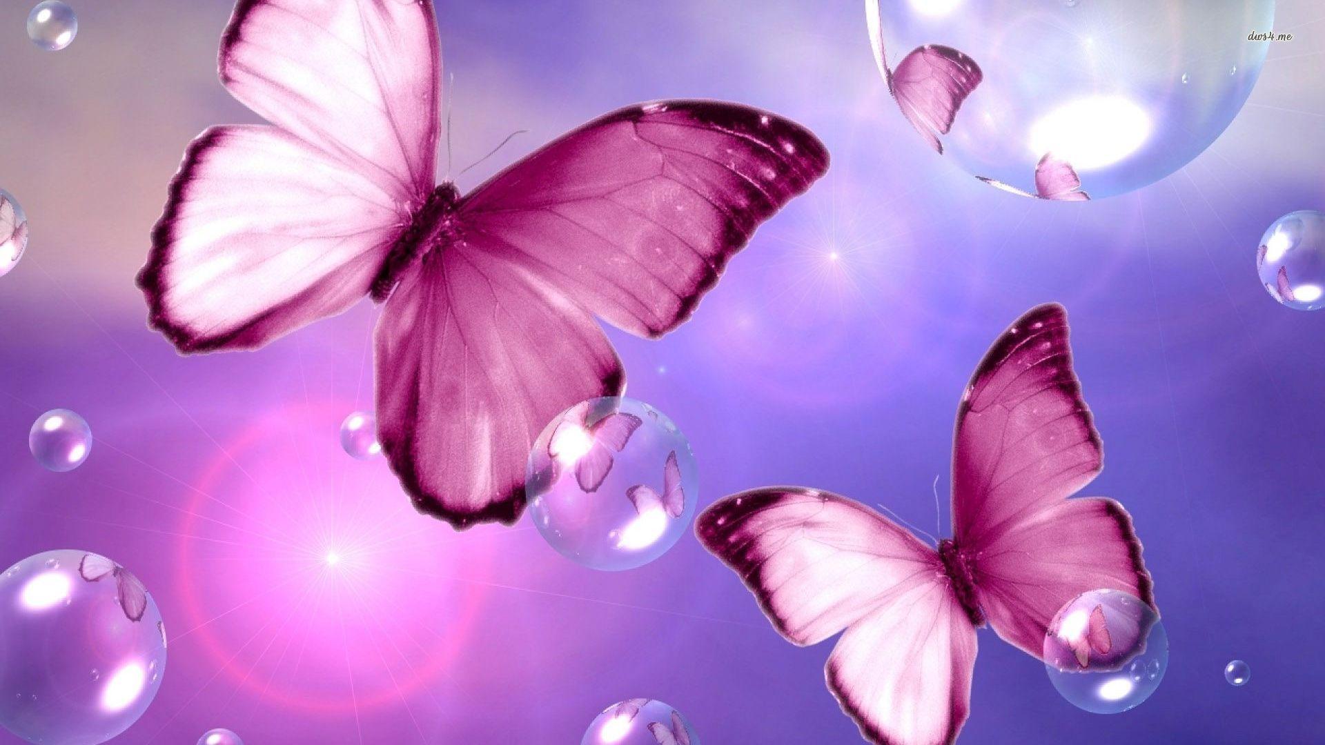 Pink Butterflies Wallpaper - Butterflies And Bubbles Background , HD Wallpaper & Backgrounds