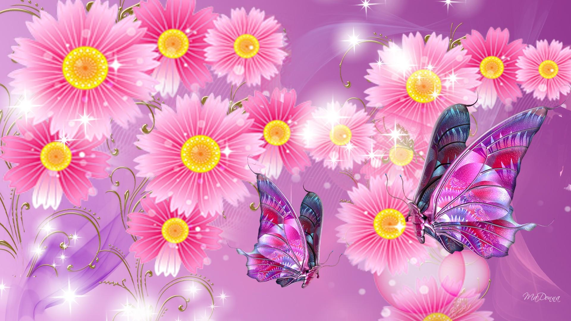 Fiori Wallpaper.0 Pink Butterfly Wallpapers Group Pink Butterfly Wallpapers