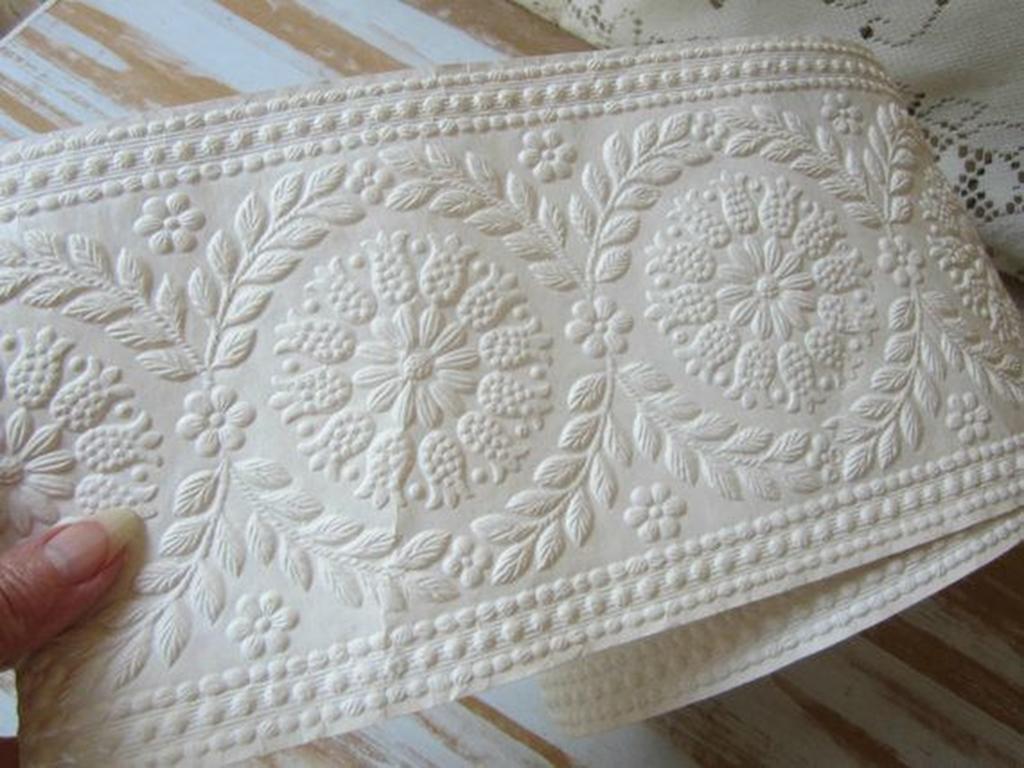 Embossed Paintable Wallpaper Textured Wallpaper Border White