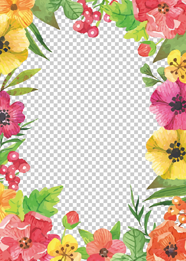 Flower Watercolor Flowers Border Floral Frame With