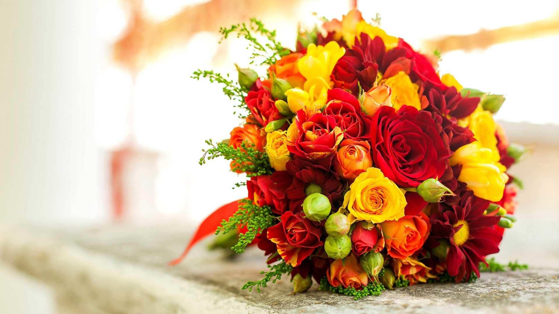 Yellow Roses Wallpapers Hd Backgrounds - Red Yellow Flower Bouquet , HD Wallpaper & Backgrounds