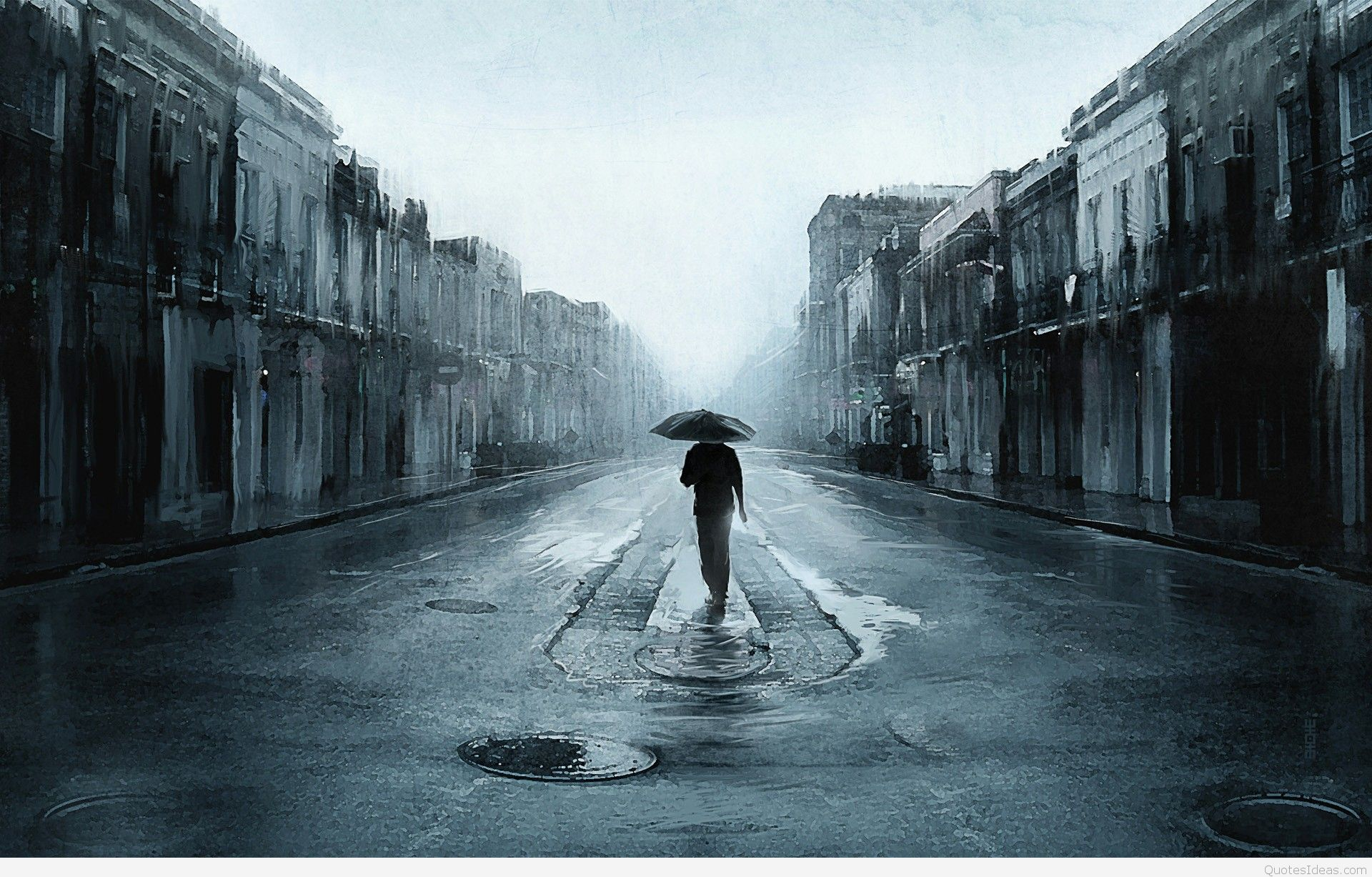 Sad Man With Umbrella Walking In A Lonely Sad Backgrounds
