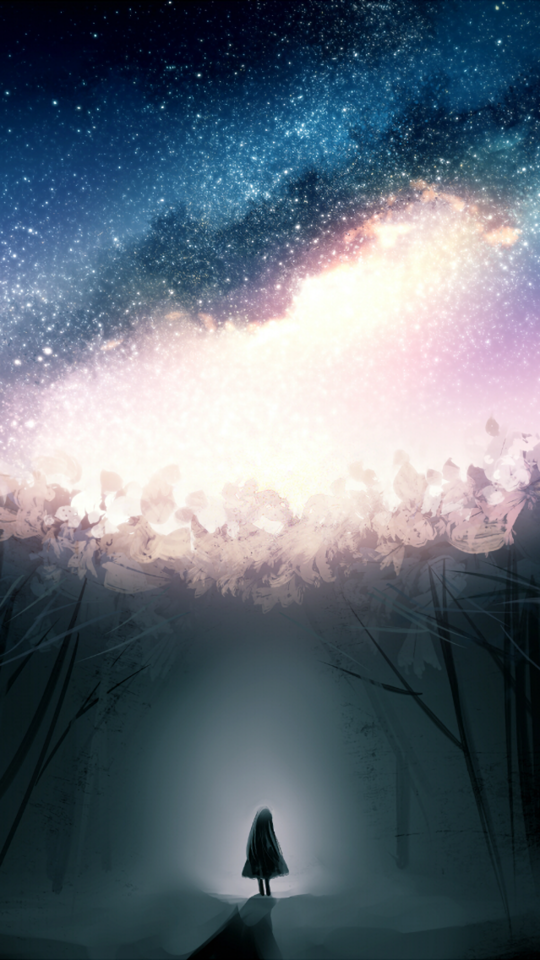 Stars, Dark Forest, Fantasy Girl, Alone - Forest Space , HD Wallpaper & Backgrounds