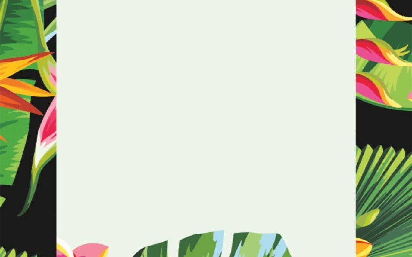 Tropical Flowers & Palm Leaves Iphone Wallpaper Border - Tropical Flower Wallpaper Iphone , HD Wallpaper & Backgrounds