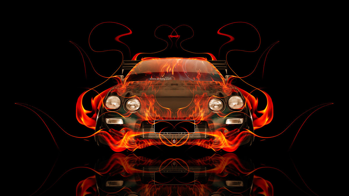 Toyota Celica Jdm Tuning Front Fire Abstract Car - Pink And Black Maserati , HD Wallpaper & Backgrounds