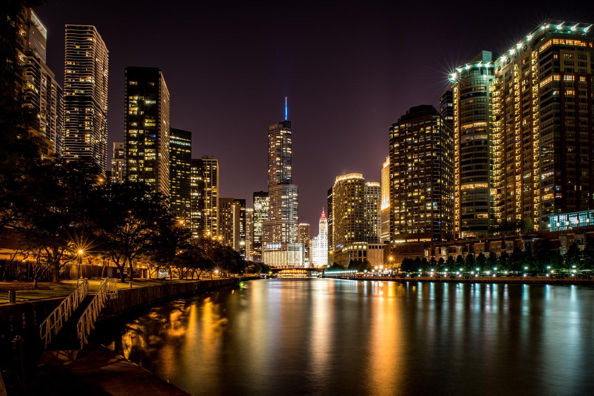 Photo Wallpaper Night Chicago Skyscrapers Usa Chicago