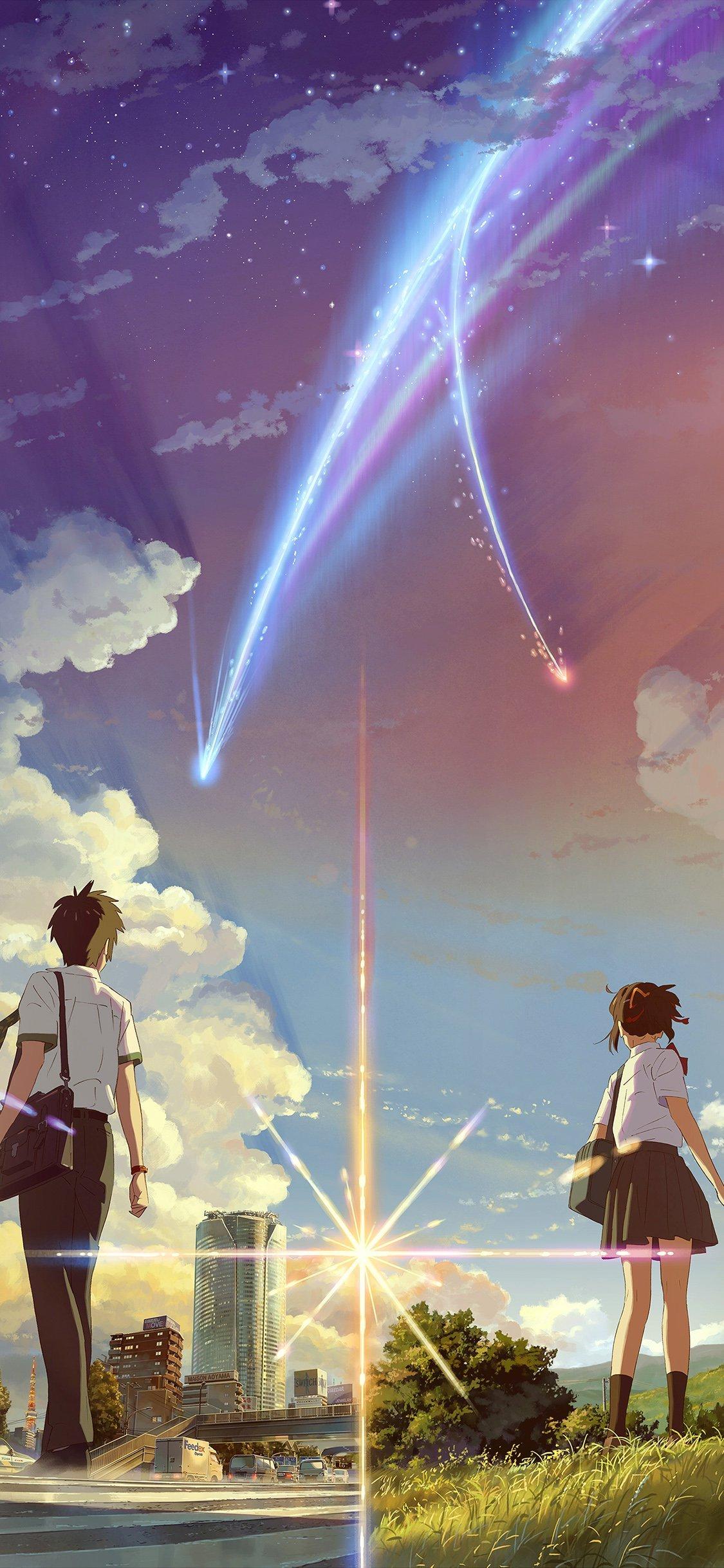 Ar29 Boy And Girl Anime Art Spring Cute Flare Wallpaper - Iphone X Wallpaper Anime , HD Wallpaper & Backgrounds