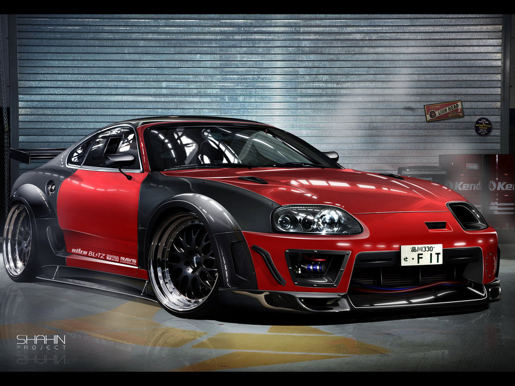 Car Front Angle View Toyota Supra Sports Car Modified - Toyota Supra Tuning , HD Wallpaper & Backgrounds
