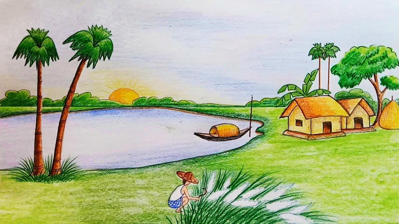 Natural Scenery Of Bangladesh Wallpaper - Scenery Drawing For Class 8 , HD Wallpaper & Backgrounds