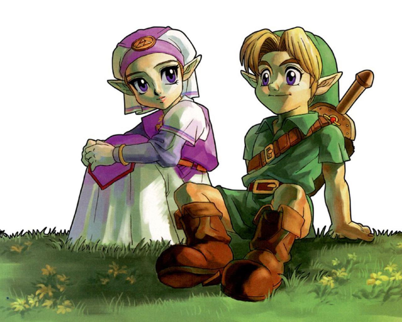 Link And Zelda Standard Wallpaper Link And Zelda Ocarina Of Time